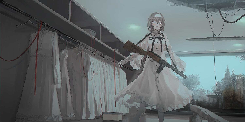 chihuri405 dark dress gun headband lena_(chihuri) lolita_fashion original ruins weapon