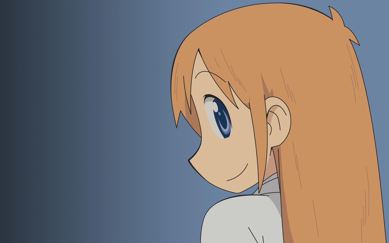 blue_eyes gradient hakase_(nichijou) long_hair nichijou orange_hair vector