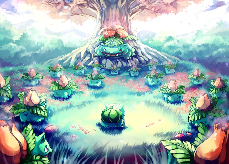 bulbasaur cherry_blossoms flowers grass ivysaur pokemon sa-dui tree venusaur