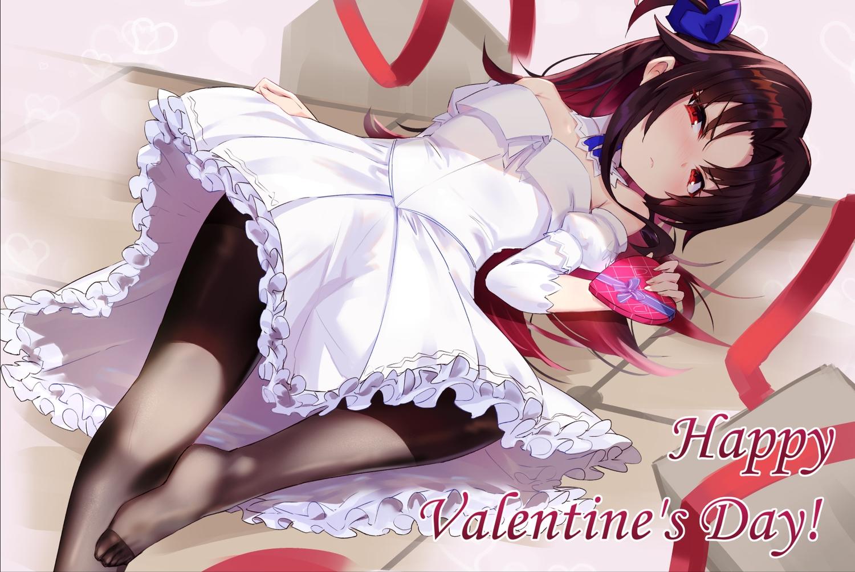blush brown_hair dress kakumayu long_hair pantyhose red_eyes ryuuou_no_oshigoto! skirt_lift valentine yashajin_ai
