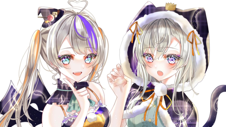 2girls animal_ears aqua_eyes catgirl ebimau feathers halloween long_hair tagme_(character) tail twintails wings