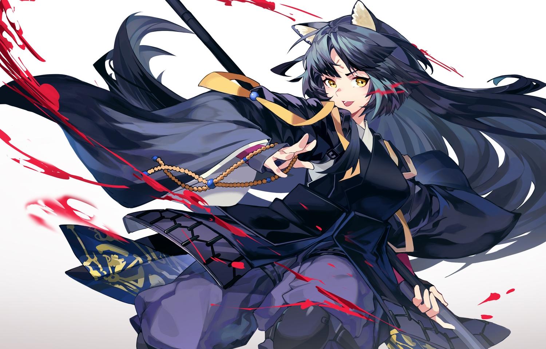 animal_ears arknights armor black_hair blood doggirl gloves gradient japanese_clothes long_hair saga_(arknights) samurai spear tsumiki_(12756023) weapon yellow_eyes