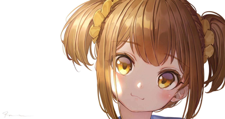 blonde_hair blush cat_smile close hakura_kusa pop_team_epic popuko short_hair signed twintails waifu2x white yellow_eyes