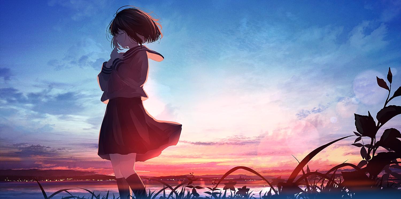 black_hair clouds mifuru original school_uniform short_hair skirt sky water