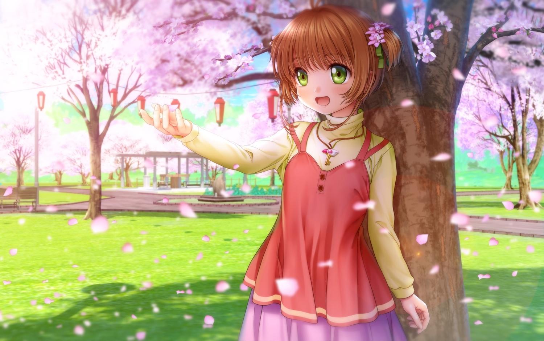 brown_hair card_captor_sakura flowers green_eyes kinomoto_sakura loli moonknives necklace short_hair skirt