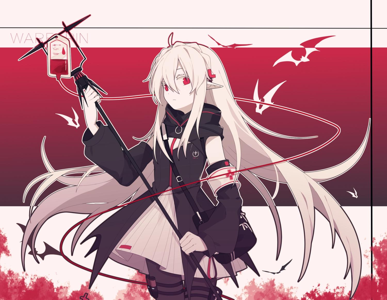 arknights dress gla gradient hoodie long_hair pantyhose pointed_ears red_eyes staff vampire warfarin_(arknights) white_hair