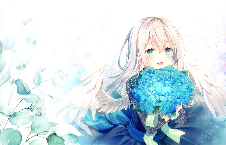 aqua_eyes blonde_hair bow dress feathers flowers leaves long_hair original ribbons scan toosaka_asagi wings