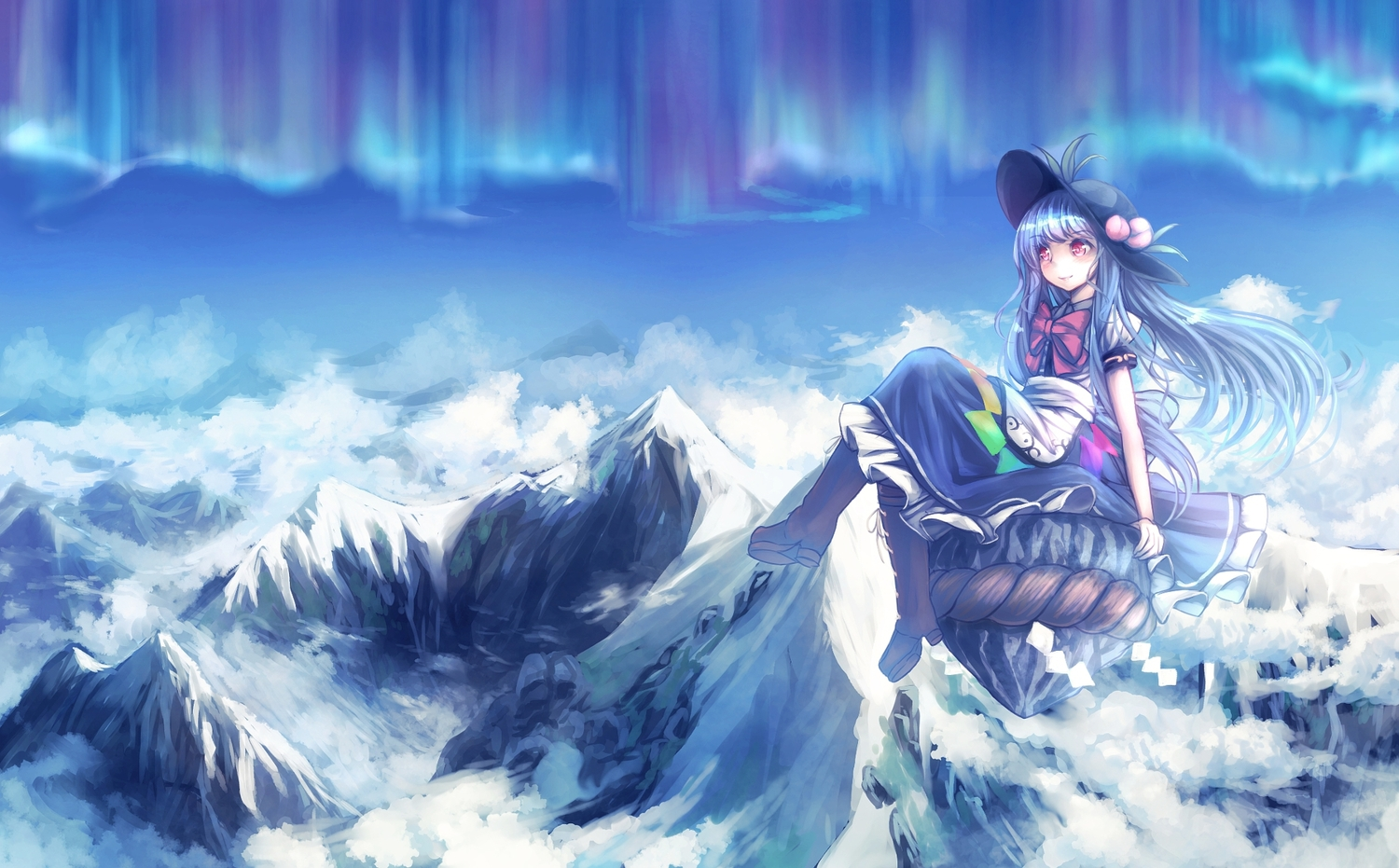 hat hinanawi_tenshi long_hair ribbons scenic t.m_(aqua6233) touhou