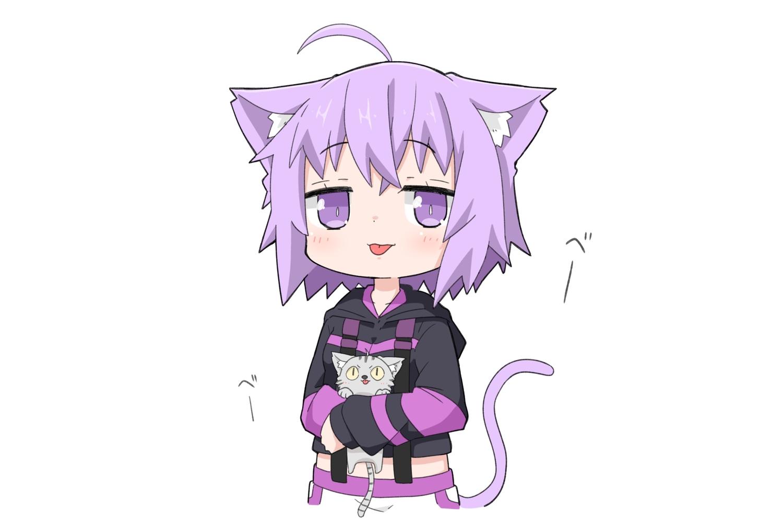 animal animal_ears cat catgirl chibi hololive hoodie kinka nekomata_okayu purple_eyes purple_hair short_hair tail white