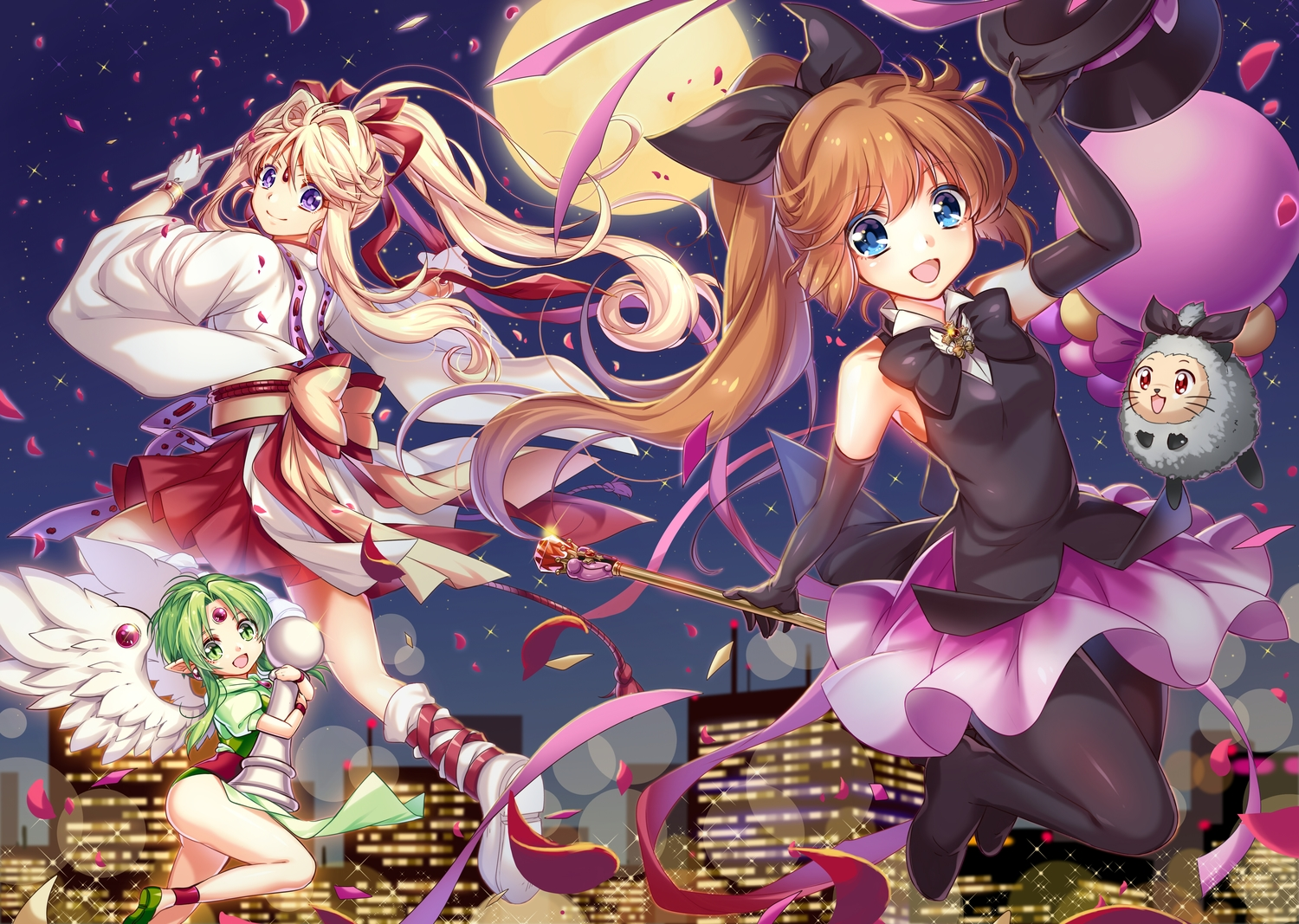 angel animal blonde_hair blue_eyes blue_hair building city elbow_gloves fairy finn_fish gloves green_eyes green_hair haneoka_meimi hat japanese_clothes kamikaze_kaitou_jeanne kusakabe_maron long_hair miko moon night petals pointed_ears ponytail purple_eyes ribbons takase_kou wings