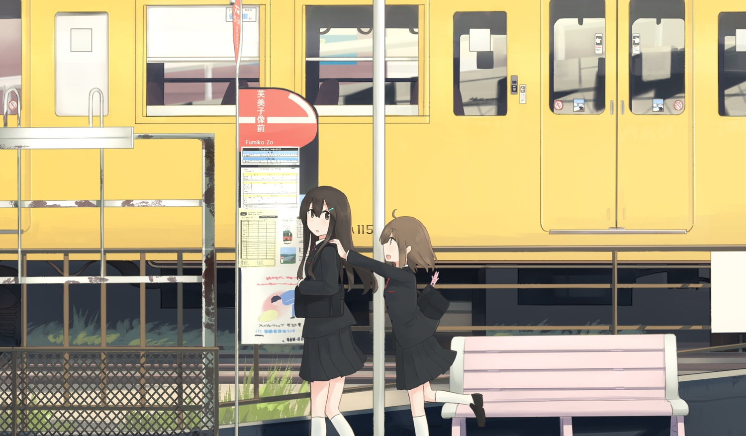 2girls brown_eyes brown_hair grass hinami047 long_hair original school_uniform short_hair skirt train