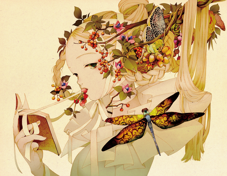 blonde_hair book braids brown_eyes food fruit kuon_no_mori leaves long_hair ribbons tsurimaki_nodoka