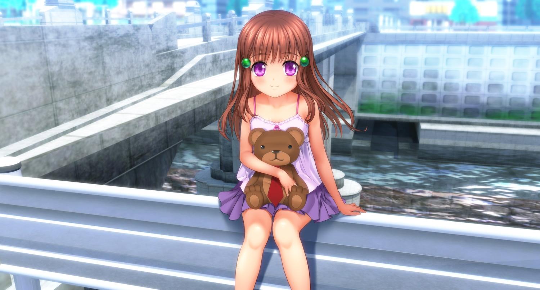 brown_hair loli long_hair moonknives original purple_eyes teddy_bear