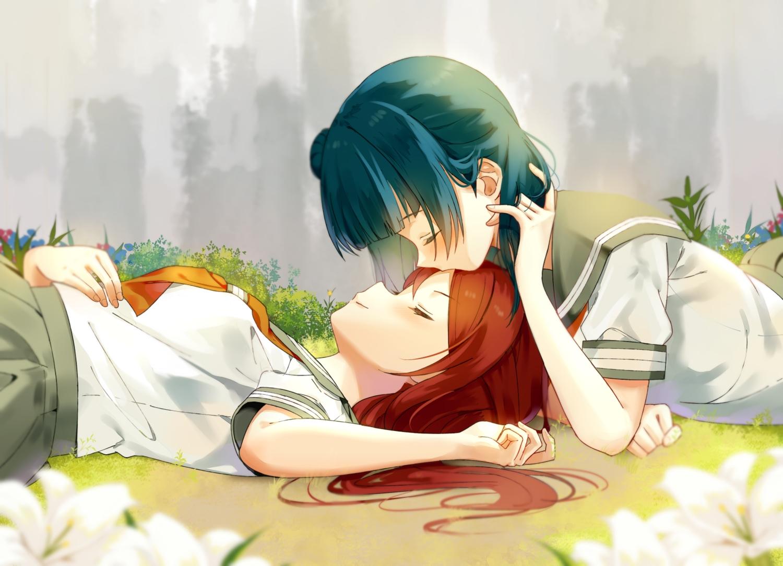 2girls blue_hair flowers kiss kurosawa_ruby long_hair love_live!_school_idol_project love_live!_sunshine!! red_hair school_uniform sellel shoujo_ai tie tsushima_yoshiko