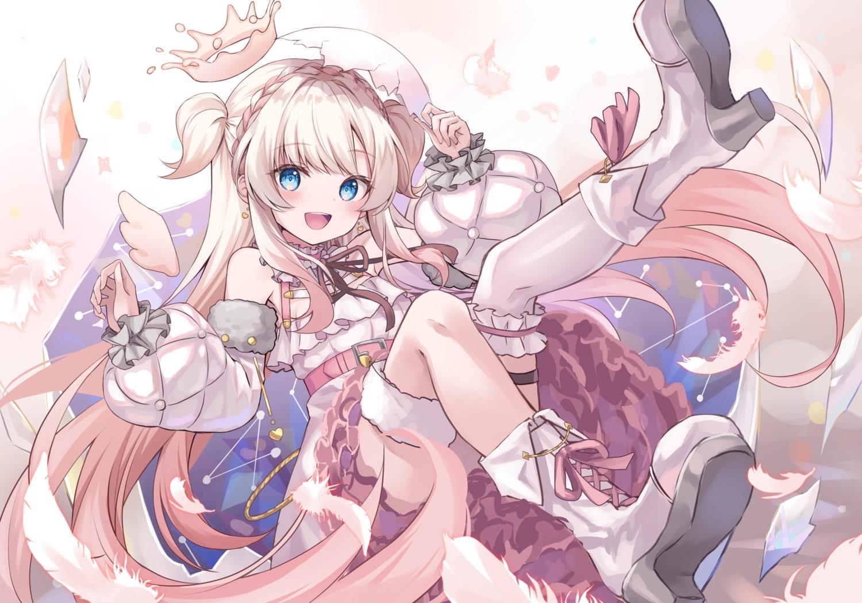 amamori_naco angel aqua_eyes blanche_fleur blonde_hair blush boots braids crown feathers garter halo kure~pu long_hair thighhighs twintails wings