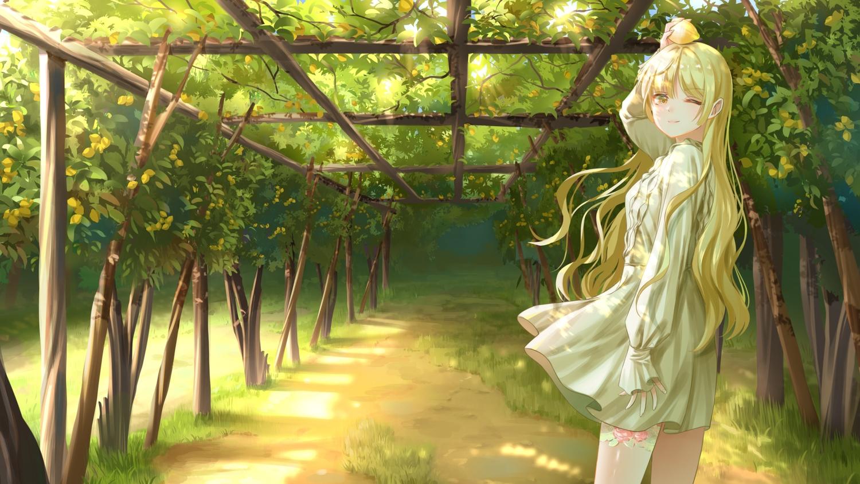 blonde_hair dress food fruit gonzz_(gon2rix) grass leaves long_hair original scenic shade tree wink yellow_eyes