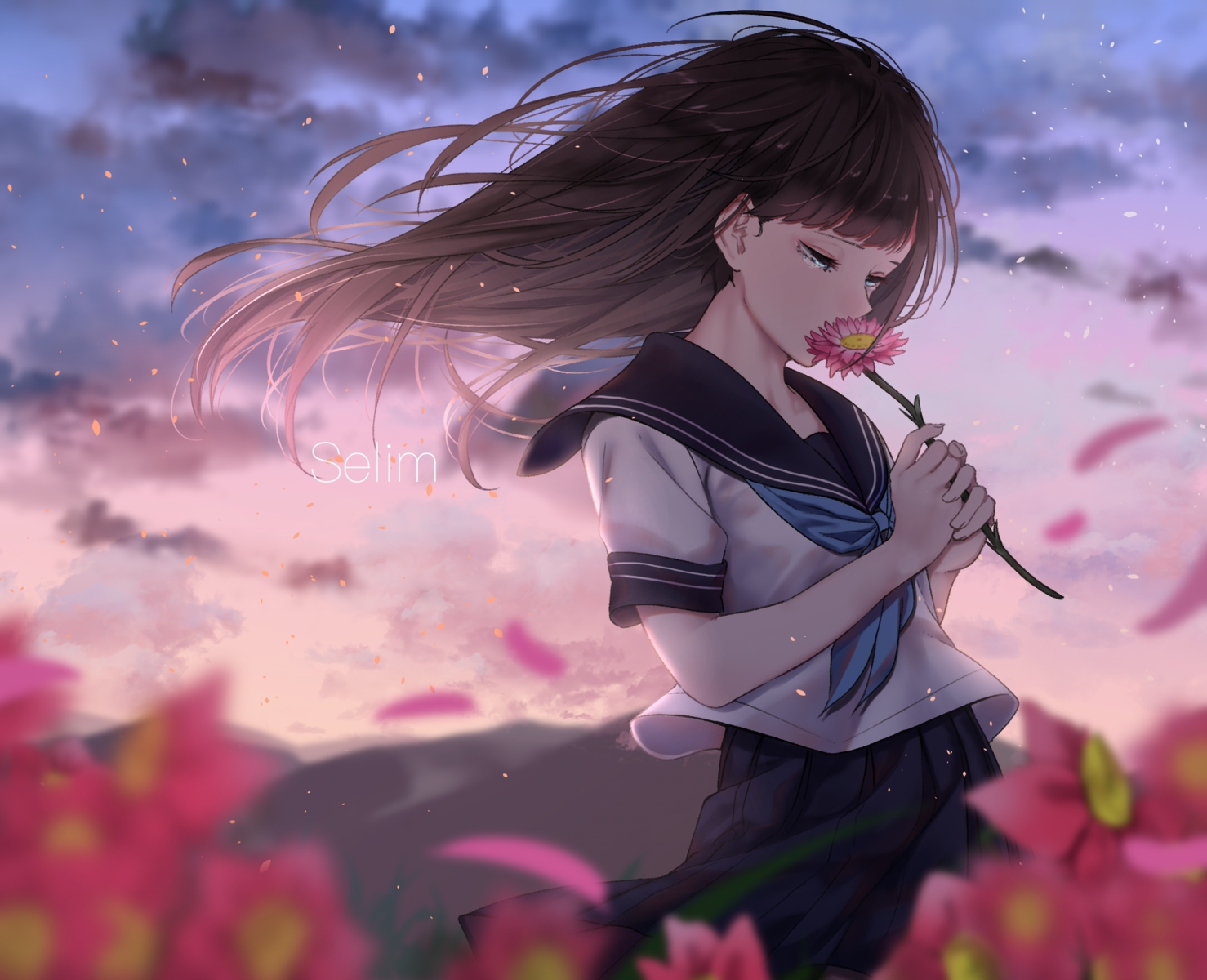 blue_eyes brown_hair flowers long_hair original saitou_(lynx-shrike) school_uniform skirt sky sunset tears