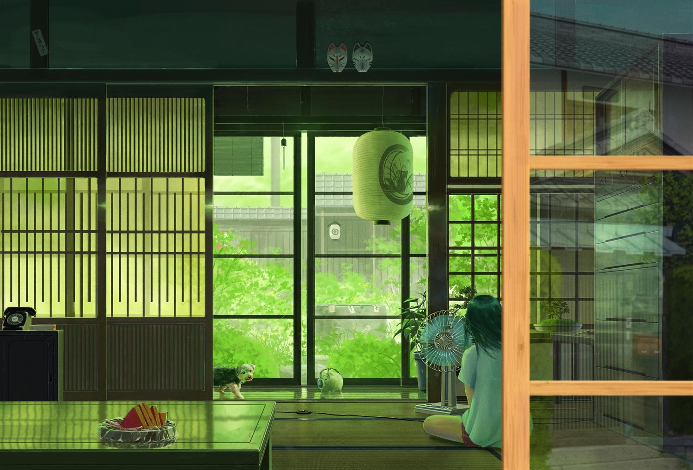 animal dog fan food fruit green mask original pei_(sumurai) phone reflection scenic summer watermelon
