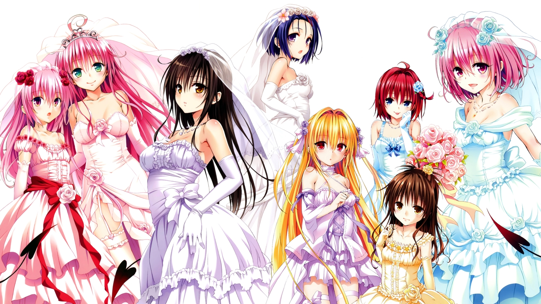 golden_darkness kotegawa_yui kurosaki_mea lala_satalin_deviluke loli momo_velia_deviluke nana_asta_deviluke sairenji_haruna to_love_ru to_love_ru_darkness wedding_attire yabuki_kentarou yuuki_mikan