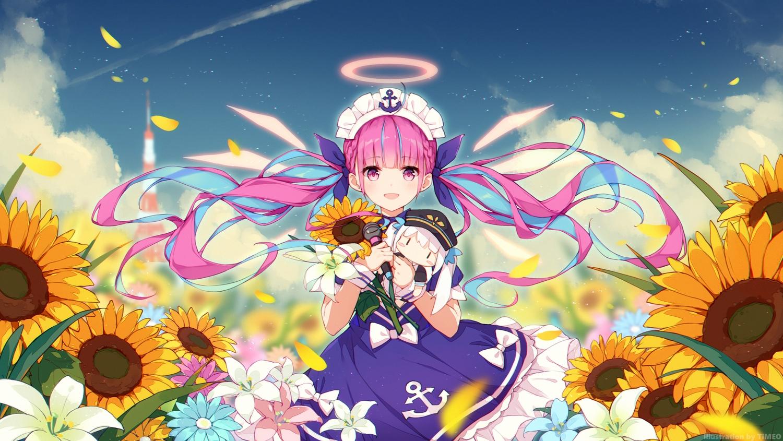 bow clouds doll dress flowers halo headdress hololive kagura_mea kagura_mea_channel long_hair microphone minato_aqua pink_eyes pink_hair school_uniform sky sunflower timeo twintails wings