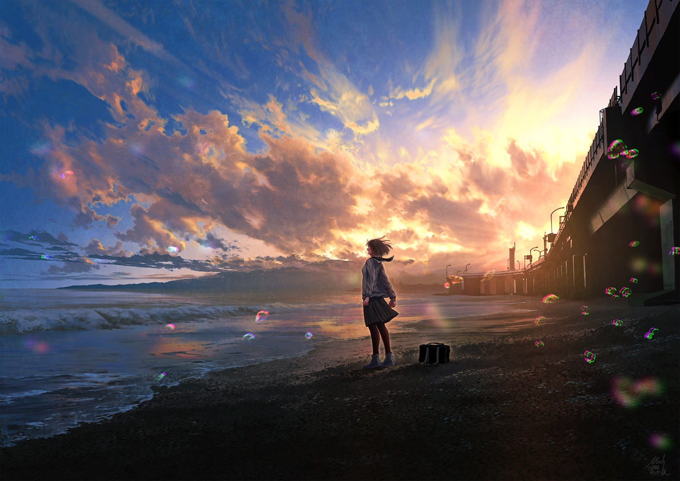 beach brown_hair bubbles clouds mocha_(cotton) original pantyhose scenic school_uniform short_hair signed skirt sky sunset water