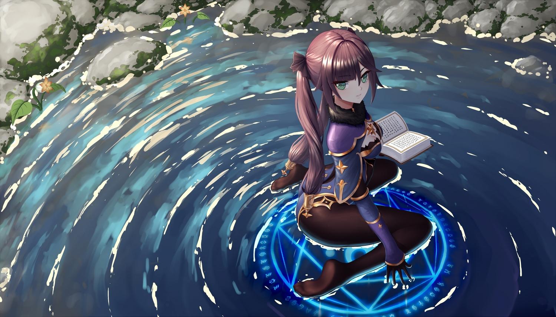 book genshin_impact gloves green_eyes long_hair magic mona_(genshin_impact) twintails user_rsvk4825 water