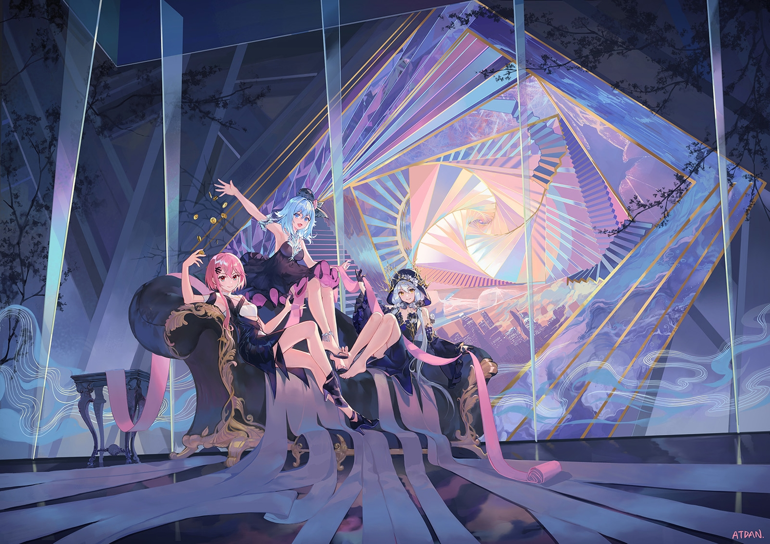 aqua_eyes aqua_hair atdan blue_hair chiyu_(synthv) couch dress gloves haiyi hoodie long_hair orange_eyes pink_hair red_eyes short_hair signed stairs synthesizer_v twintails vocaloid xingchen