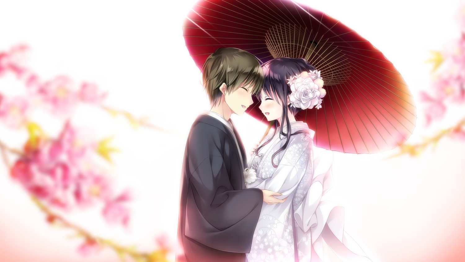 black_hair cherry_blossoms ensemble_(company) flowers game_cg japanese_clothes kimono koi_wa_sotto_saku_hana_no_you_ni male sumeragi_rei tagme_(artist) toudou_nazuna umbrella wedding wedding_attire