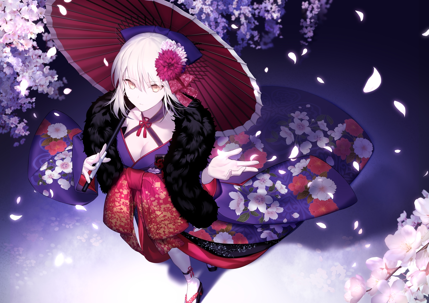 artoria_pendragon_(all) breasts cleavage fate/grand_order fate_(series) fate/stay_night flowers japanese_clothes kimono saber saber_alter shinooji umbrella