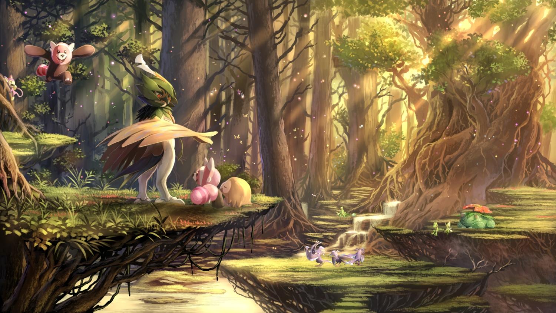 aipom bewear bulbasaur celebi decidueye forest illumise karamimame mew mothim nobody oricorio pokemon rowlet scenic sceptile stufful tree treecko venusaur volbeat water waterfall
