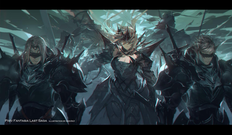 armor blindfold gray_hair male original pixiv_fantasia short_hair swd3e2 sword watermark weapon