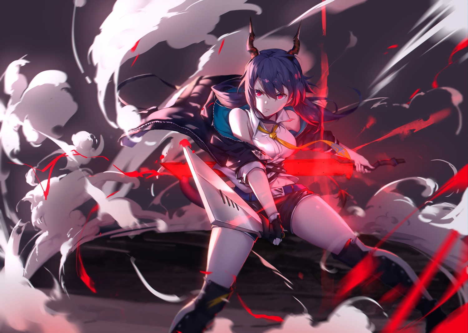 arknights blue_hair boots ch'en_(arknights) horns long_hair red_eyes shorts sword tail twintails weapon yumuto