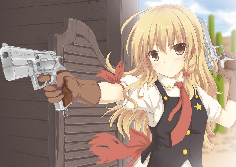 blonde_hair cowgirl gloves gun kirisame_marisa long_hair mizunashi_kenichi tie touhou weapon