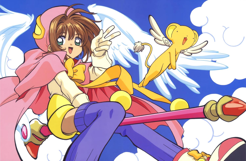 bow brown_hair cape card_captor_sakura clouds gloves green_eyes kero kinomoto_sakura scan short_hair sky thighhighs wand wings