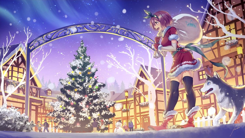 anbe_yoshirou boots brown_eyes brown_hair christmas dress elbow_gloves gloves group original santa_costume short_hair signed snow snowman thighhighs tree zettai_ryouiki