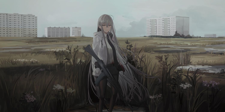 blood chihuri405 clouds dark gloves grass gray_eyes gray_hair gun hoodie long_hair original pantyhose shorts sky tie weapon zoya_(chihuri)