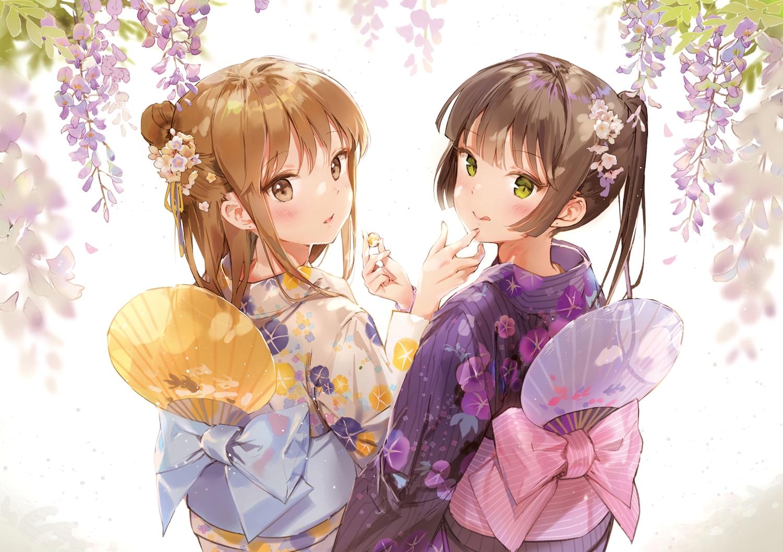 2girls anmi black_hair blush bow brown_eyes brown_hair candy cropped fan flowers green_eyes japanese_clothes kimono long_hair original ponytail scan