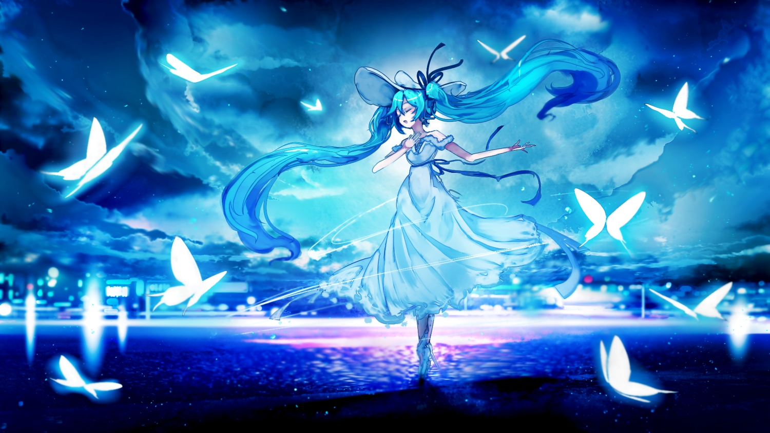 aliasing aqua_hair blue butterfly clouds dress hat hatsune_miku long_hair night ribbons sky stars twintails vocaloid water yoshioka_yoshiko