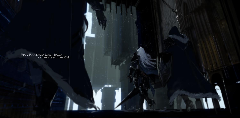 armor building gray_hair long_hair original pixiv_fantasia swd3e2 sword watermark weapon