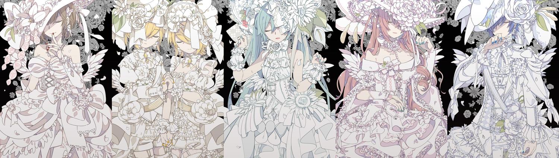 bow dress flowers hat hatsune_miku kagamine_len kagamine_rin kaito male megurine_luka meiko vocaloid wristwear yoshiki