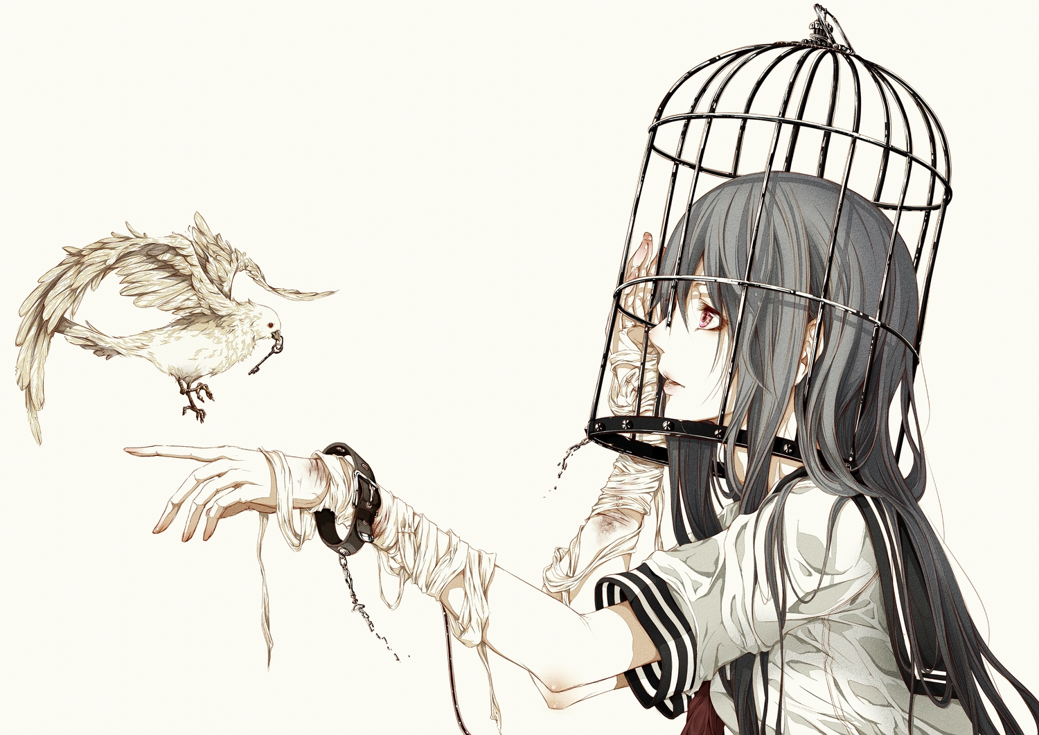 animal bandage bird bouno_satoshi cage chain original polychromatic school_uniform shackles white