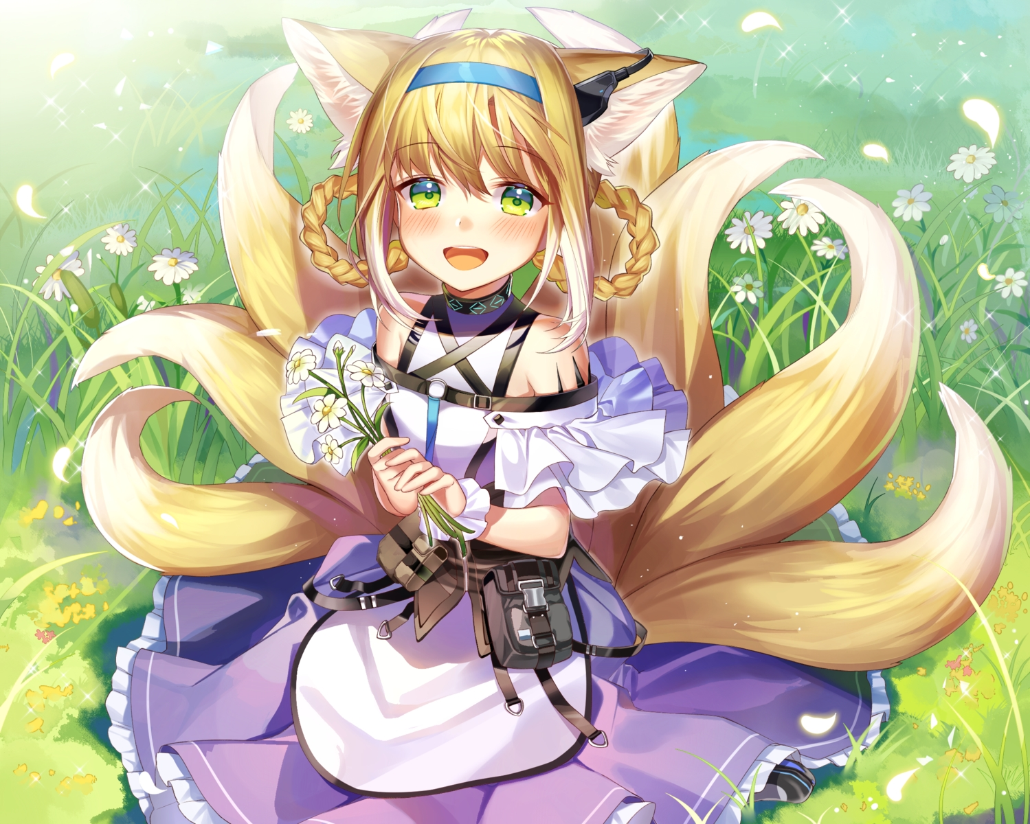 animal_ears arknights blonde_hair blush braids dress flat_chest flowers foxgirl grass green_eyes headband ion_(on01e) multiple_tails suzuran_(arknights) tail wristwear