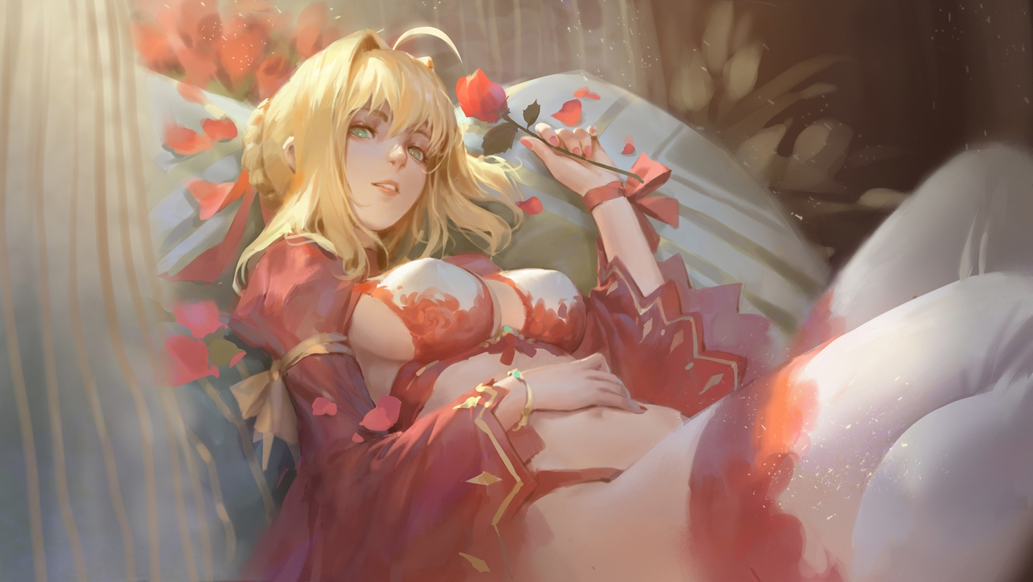 bed blonde_hair braids breasts fate/grand_order fate_(series) flowers green_eyes navel nero_claudius_(fate) qmo_(chalsoma) rose short_hair sideboob thighhighs