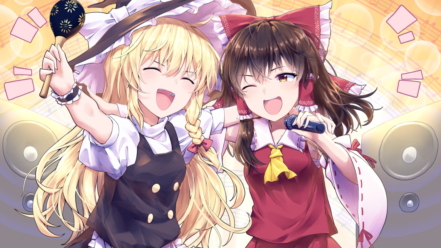 2girls black_hair blonde_hair blush bow braids brown_eyes hakurei_reimu hat instrument japanese_clothes kirisame_marisa kisamu_(ksmz) long_hair miko tie touhou wink witch witch_hat wristwear