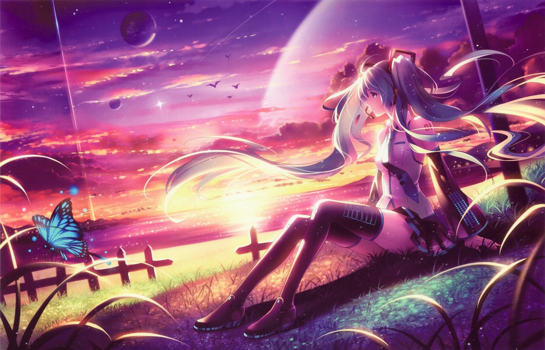 aqua_hair butterfly grass hatsune_miku long_hair scan sunset tidsean twintails vocaloid