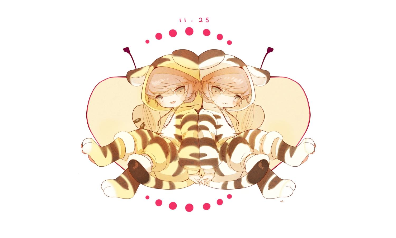 all_male anthropomorphism apple brown_eyes brown_hair catboy cat_smile chai_(artist) food fruit hoodie male original pajamas polychromatic short_hair signed white