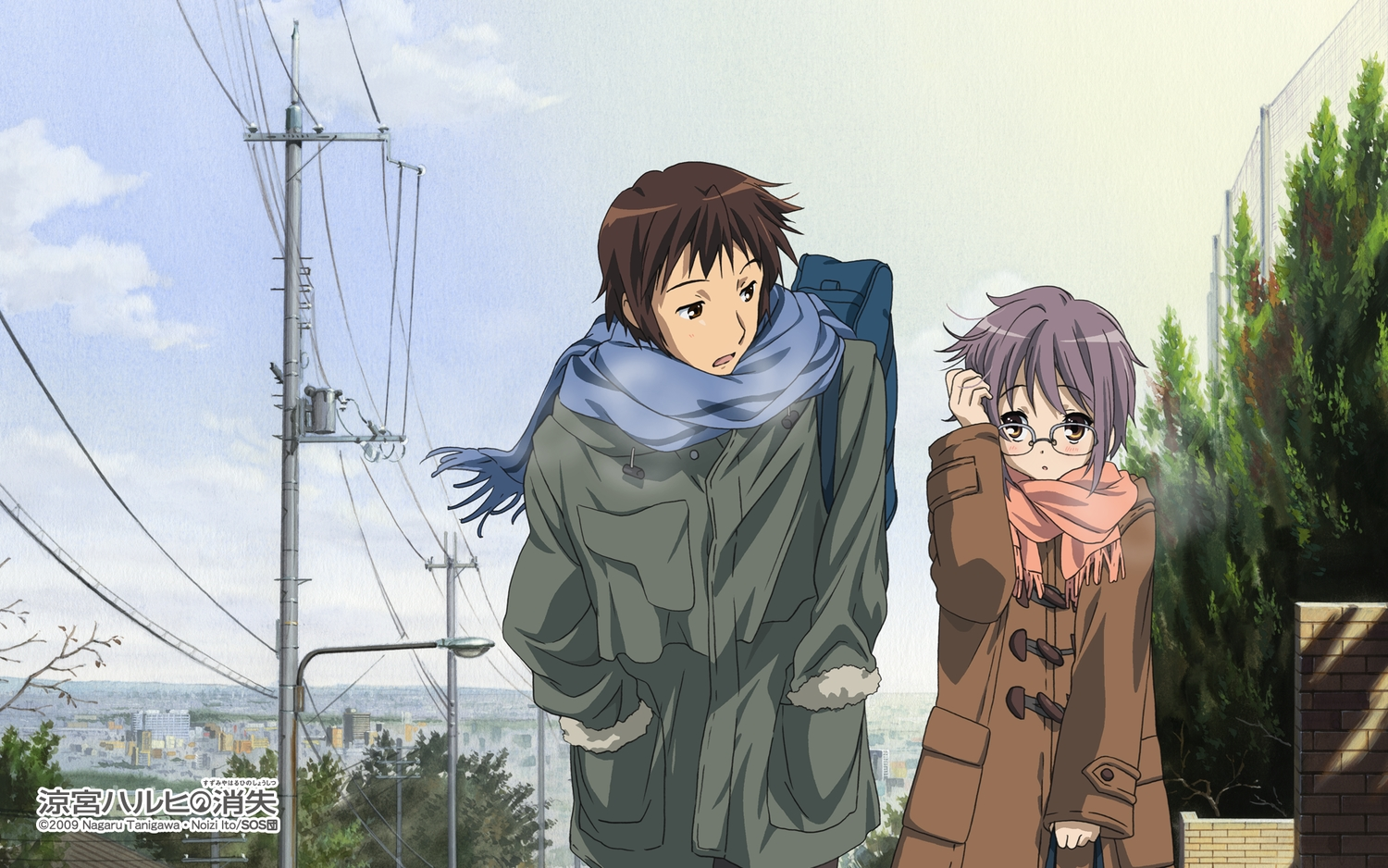 brown_eyes brown_hair clouds glasses kyon male nagato_yuki purple_hair scarf short_hair sky suzumiya_haruhi_no_yuutsu tagme_(artist) watermark