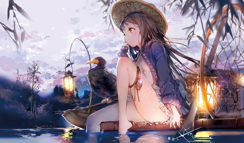 animal anmi barefoot bird black_hair boat cropped flowers garter hat long_hair no_bra open_shirt original scan underboob water yellow_eyes