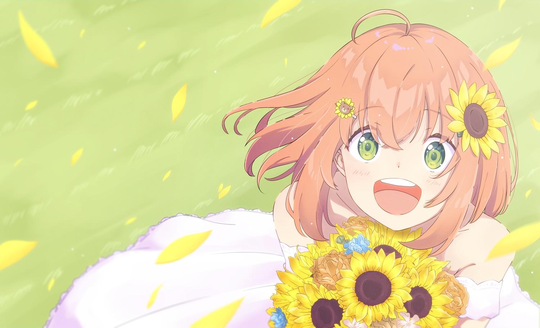 blush brown_hair dress flowers gray_eyes honma_himawari nijisanji petals short_hair sunflower yanoynk