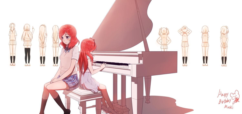 14_(vision5032) bow dress instrument love_live!_school_idol_project nishikino_maki piano pink_eyes red_hair school_uniform skirt white